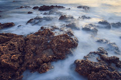 Long exposure, rocks. Stones in the water. Sea. Royalty Free Stock Photos
