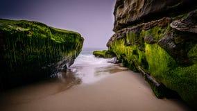 Long exposure San Diego coast. Long exposure of the rocky San Diego, California coastline stock photography
