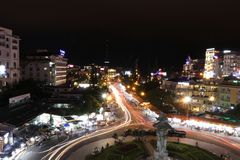 Long exposure of roundabout in Da Lat in Vietnam royalty free stock photo