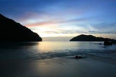 Long exposure scene of twilight tropical coast. Silhouette background: long exposure scene of tropical coast during twilight at Surin islands national park Royalty Free Stock Photography