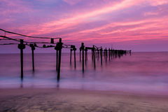 Long exposure sea pier with beautiful sunset Royalty Free Stock Photography