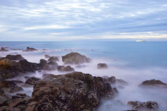 Long exposure of sea with rocks Royalty Free Stock Photography