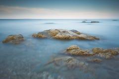 Long exposure of sea and rocks on the island Kefalonia, Greece. Royalty Free Stock Image