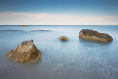Long exposure of sea and rocks on the island Kefalonia, Greece. Royalty Free Stock Image