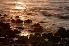 Long exposure of sea and rocks, sunset over the sea , long expos Royalty Free Stock Images
