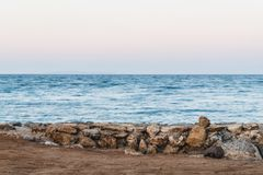 Long exposure of sea and rocks, sunset over the sea , long expos Royalty Free Stock Photography