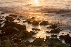 Long exposure of sea and rocks, sunset over the sea , long expos Royalty Free Stock Photos