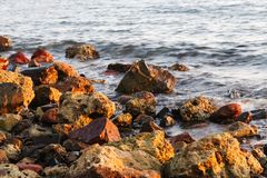 Long exposure of sea and rocks, sunset over the sea , long expos Royalty Free Stock Image