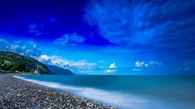 Long exposure seascape Georgian Turkish border Royalty Free Stock Photo