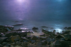 Long Exposure Seascape at Night Stock Photo