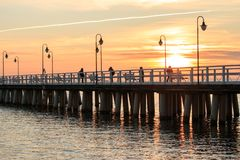 Pier, jetty by the sea in Gdynia royalty free stock photography