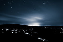 Long exposure of the Shenandoah Valley at night, from Skyline Dr Stock Image