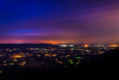 Long exposure of the Shenandoah Valley at night, from Skyline Dr Stock Photography