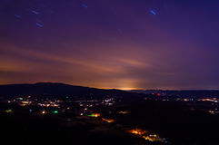 Long exposure of the Shenandoah Valley at night, from Skyline Dr Royalty Free Stock Image