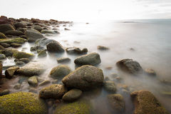 A long exposure by the shores. Royalty Free Stock Photo