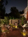 Night scene in the back yard porch royalty free stock images