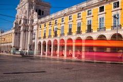 Long exposure shot .  Commerce square Praca do Comercio in Li Royalty Free Stock Photo