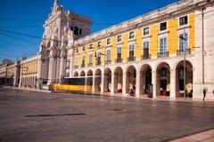 Long exposure shot .  Commerce square Praca do Comercio in Li Stock Images