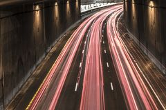 Light trails on a Chicago expressway stock images