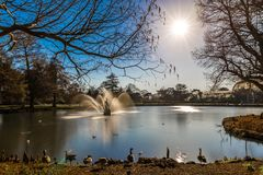 Long exposure shot of fountain and pavilion in Kew Gardens, Lond. On, UK Royalty Free Stock Photography
