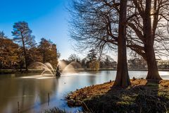 Long exposure shot of fountain and pavilion in Kew Gardens, Lond. On, UK Stock Images