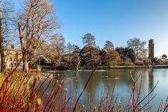 Long exposure shot of fountain and pavilion in Kew Gardens, Lond. On, UK Royalty Free Stock Image