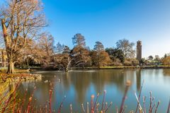 Long exposure shot of fountain and pavilion in Kew Gardens, Lond. On, UK Royalty Free Stock Photo