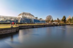 Long exposure shot of fountain and pavilion in Kew Gardens, Lond. On, UK Stock Photos