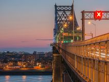 Long exposure shot of Jacques Cartier Bridge Illumination in Montreal, Quebec, Canada royalty free stock images