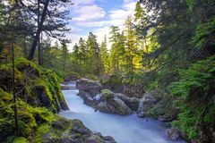 Long exposure shot of Little Qualicum Falls in Vancouver Island, BC Canada stock photo
