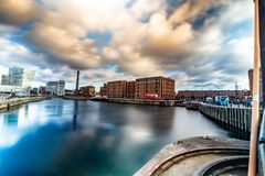 Long Exposure Sky and Water at Liverpool Albert Dock stock photos