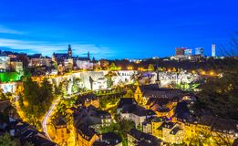 Scenic view of old part of Luxembourg city, Grund, at night Royalty Free Stock Photo