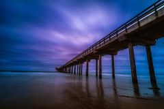 La Jolla Beach Scripps Pier at Dusk. Long exposure shot of  Scripps Pier at blue hour with the reflection on water Stock Photos