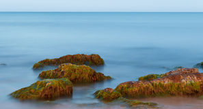 Long Exposure Shot of Sea And Rocks with Seaweeds. Ethereal long exposure shot of sea waves and rocks with green and brown seaweeds stock photo