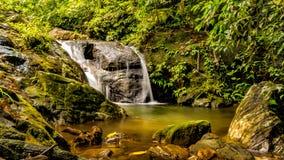 Cascading - Waterfalls, Kerala India. Long exposure shot of a small waterfall / stream amid dense vegetation stock photography