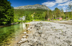 Long exposure shot of a stream and a mountain peak in Northern N Stock Images