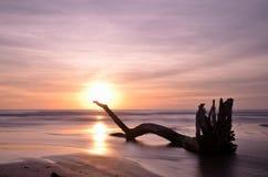 Long exposure shot, twilight on the beach Stock Photo