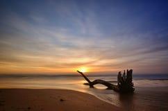 Long exposure shot, twilight on the beach Stock Photos