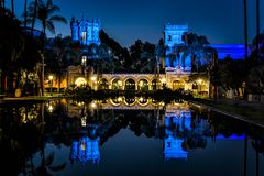 Reflections on the lily pond of Balboa park buildings Stock Images