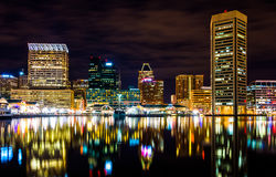 Long exposure of the skyline at night, from the Inner Harbor in Stock Photo