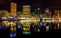 Long exposure of the skyline at night, from the Inner Harbor in Stock Photos