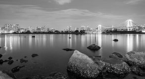 Long exposure skyline of Tokyo, black and white Stock Photo