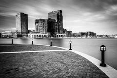 Long exposure of skyscrapers in Harbor East, seen from the Water Royalty Free Stock Images