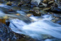 Long Exposure Small Stream Flowing Over Rocks Stock Photos