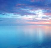 Long Exposure of soft and colorful sunset. Reflection of colorful and soft sunset stock image