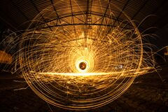 Long exposure of sparks Royalty Free Stock Photography
