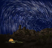 Long Exposure Star Trails In Joshua Tree National Park Royalty Free Stock Photo
