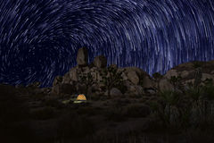 Long Exposure Star Trails In Joshua Tree National Park Stock Photos