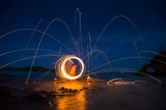 Long exposure of steel wool begin of light Royalty Free Stock Photo