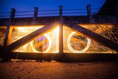 Long exposure of steel wool begin of light Stock Image